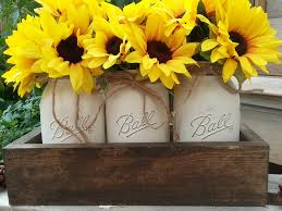 sunflower centerpiece farmhouse sunflower centerpiece jar planter box fall