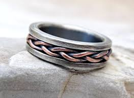 Viking Wedding Rings by Buy A Hand Crafted Viking Wedding Band Braided Ring Two Tone