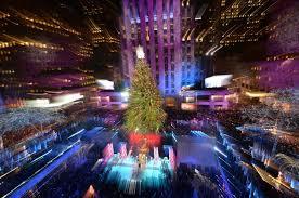 main nyc christmas tree lights on in rockefeller center big
