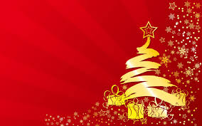 golden christmas tree on red background photo and desktop wallpaper