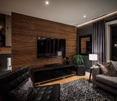 natural modern design of the living room wood wall and paint ideas