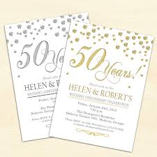 50th wedding anniversary invitation confetti gold white