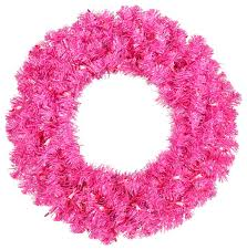 pre lit sparkling pink tinsel artificial wreath