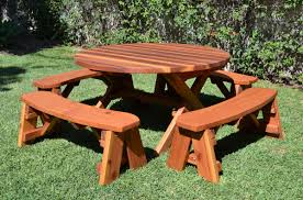 Round Garden Table With Lazy Susan round wood picnic table with wheels forever redwood