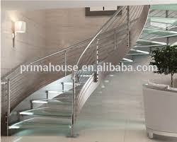 Glass Staircase Design Big House Curved Glass Railing Marble Helical Staircase Design