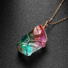 crystal rock pendant necklace images 1pc new rainbow stone natural crystal chakra rock necklace golden jpg