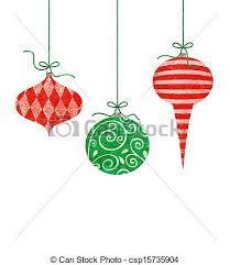 whimsical hanging ornaments three retro stock