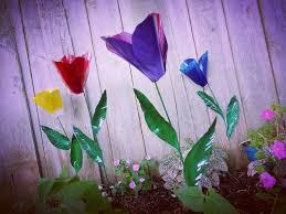 metal flower garden stakes metal flower garden stake tulip flower garden art metal