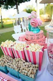 popcorn bar from a backyard carnival party on kara u0027s party ideas