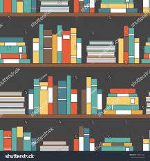 seamless pattern bookshelves hand drawn illustration stock vector