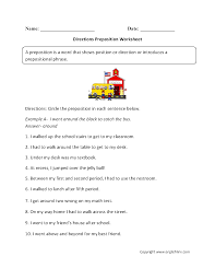 parts speech worksheets preposition worksheets