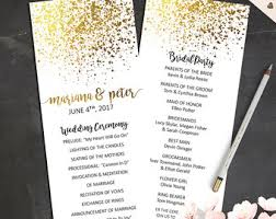 gold wedding programs marble wedding program printable gold wedding decor order