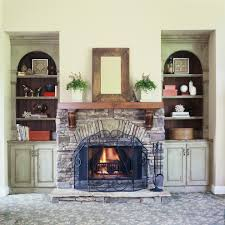mantel shelf in family room rustic with fireplace with bookcases