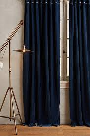 Navy Curtain Embroidered Charente Navy Curtain