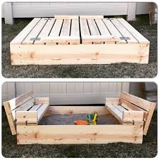 i adore this diy sandbox with fold out seats so much mrs happy