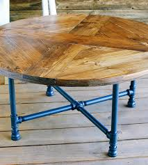 reclaimed wood round coffee table reclaimed wood round coffee table with pipe legs pipes rounding