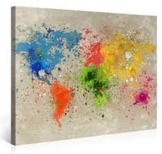 World Map Canvas Large Canvas Print Wall Art World Map Watercolour Explosion