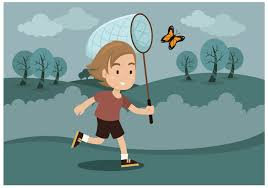 free boy with butterfly net vector download free vector art