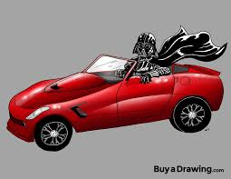 cartoon convertible car cartoon drawing of darth vader in a red corvette starwars chevy