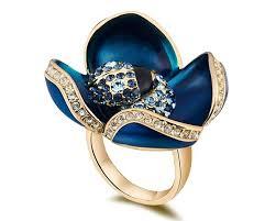 blue rock rings images Zircon blue enamel fashion ring flower jewelry for lover mother jpg