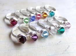 ring with children s birthstones girl s birthstone ring swarovski kids rings