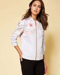 light bomber jacket womens ted baker womenswear collection clothing light grey polyester