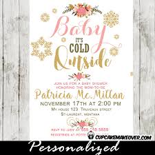 baby it s cold outside baby shower winter baby shower invitations pink floral bouquet baby