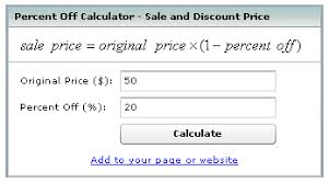 percentage calculator excel sale discount equations formulas calculator percent off percentage