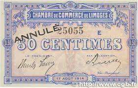 chambre du commerce limoges 50 centimes annulé regionalism and miscellaneous limoges 1914