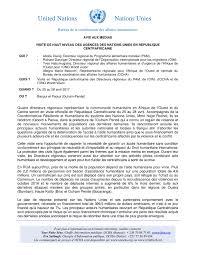bureau de coordination des affaires humanitaires avis aux medias visite de haut niveau des agences des nations unies