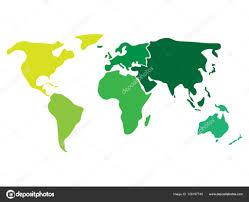 Blank Australia Map by Multicolored World Map Divided To Six Continents In Different