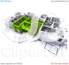 clipart illustration of green and white 3d home floor plans on