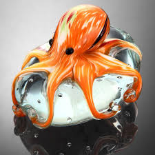 Octopus Home by Amazon Com Art Glass Orange Octopus Paperweight Home U0026 Kitchen