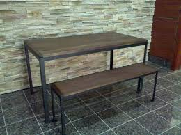wooden bench design ideas come with black paint metal frame and