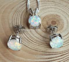 opal earring necklace set images Lovely round 8 mm blue fire opal jewelry set necklace earring in jpg