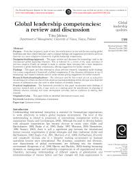 journal of management style guide global leadership competencies a review and discussion pdf