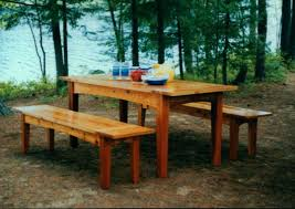 Plans To Build A Picnic Table And Benches by Outdoor Harvest Table And Benches Plan Downloadable