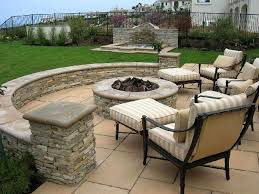 flagstone patio ideas onbudget with unique round fire pit for and
