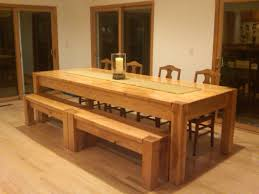 kitchen breakfast nook set present narrow wood rectangle table and