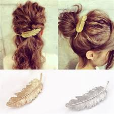 feather hair clip gold or silver leaf feather hair clip barrette boho bohemian