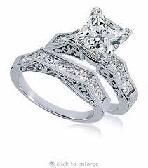 princess cut cubic zirconia wedding sets 1 5 carat princess cut cubic zirconia channel set engraved wedding set