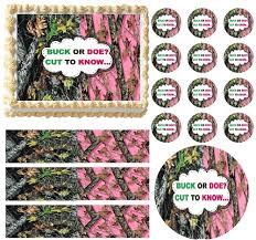 buck and doe cake topper oak pink mossy gender reveal buck doe edible cake topper frosting