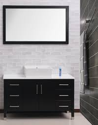 The Brick Vanity Table Bathroom Black Modern Bathroom Vanity Set With White Brick Wall