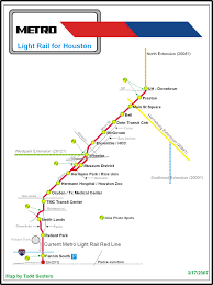 Metro Rail Houston Map by The Houston Light Rail System