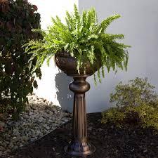 decorative copper pedestal planter outdoor