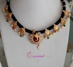 black necklace with gold images Beautiful black dori necklace designs necklace designs models jpg