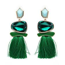 green earrings zara green gem tassel drop stud earrings ebay