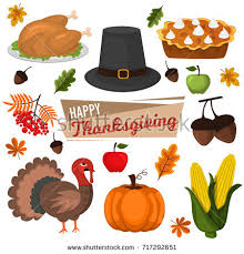 Happy Thanksgiving And Happy Holidays Thanksgiving Food Autumn Greeting Harvest Stock Vector