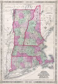Maps Of New England by File 1864 Johnson U0027s Map Of New England Vermont New Hampshire
