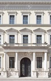 building facade in neoclassical style as architectural element